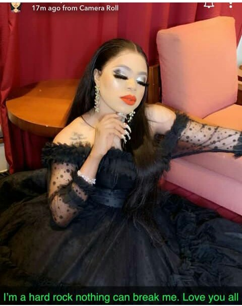 """Bobrisky breaks silence after his birthday party was crashed by Police officers in Lagos.  The popular Nigerian cross-dresser Idris Okuneye popularly known as Bobrisky was said to be on the run after police shutdown the venue of his birthday party in Lekki, Lagos.  Sharing a video on his Snapchat, he wrote; """"I'm a hard rock, nothing can break me.. Love you'll."""