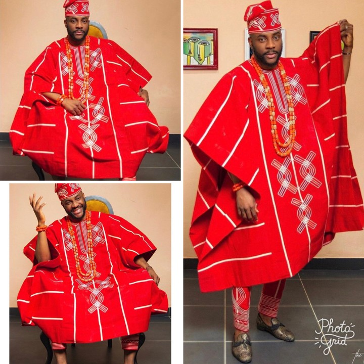 The Big Brother Naija host, Ebuka Uchendu who is known for his very fashionable nature displays yet another one at the eviction show that held this night. He rocked a red yoruba attire.