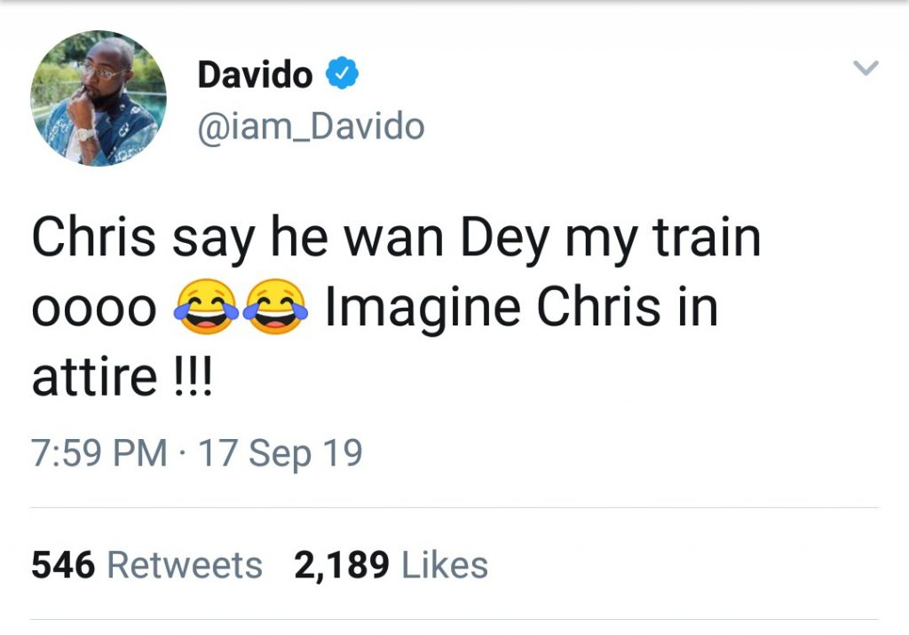 US singer, Chris Brown has begged to be part of Davido's train when he gets married to his fiancee Chioma. Since the release of their hit single 'Blow My Mind', both singers have been sharing a wonderful relationship. They've gone from the success of the song to even sharing a stage together at Chris Brown's Indigo tour. Well, it seems their relationship goes beyond just featuring on a song, because Chris Brown has begged to be part of Davido's train in the wedding slated for next year.