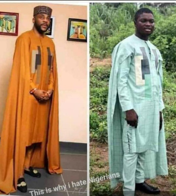 This tailor did this man who tries to look like Ebuka by his outfit 'strong thing'. Ebuka wore this outfit while hosting the current Big Brother Naija show.
