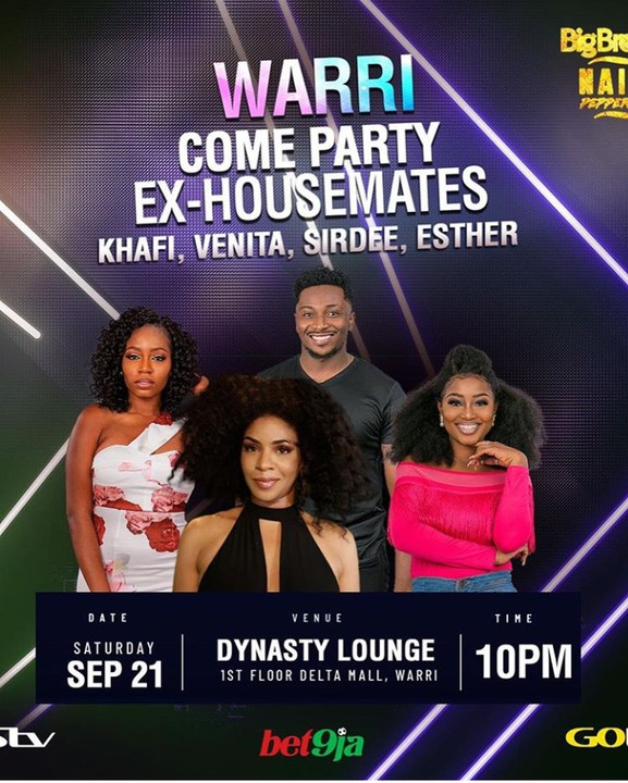 Evicted BBNaija housemate, Khafi meets with Omashola's mum and sister in warri. Gistmore reports Khafi who left the big brother house, became the 16th housemates to leave the reality TV show of the pepper dem gang. Khafi, Venita, Sir Dee and Esther are having their eviction party tonight at Dynasty Lounge in Warri, Delta state.