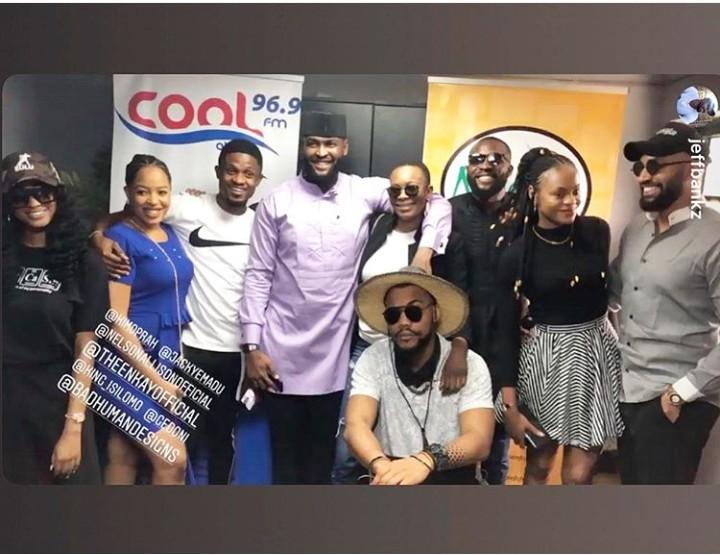 Evicted BBNaija housemates, Kim Oprah, Gedoni, Isilomo, Jeff, Nelson, Jackye, Enkay, Joe reunites at Coolfm in Abuja.