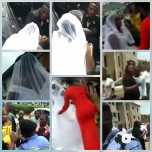 Man Cancelled Their Wedding On Their Way To Church In Abuja!!!!! Here is the embarrassing moment a Nigerian man cancelled his wedding while on their way to the church in Abuja. The groom identified as Joe suddenly refused to proceed with the wedding ceremony. The bride was kneeling down begging him, but he was adamant. Others were seen in the video also begging the groom to calm down but he refused. He scattered everything and disgraced the bride.