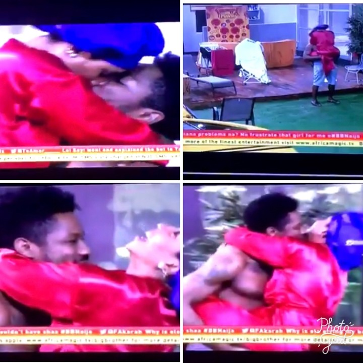 Here is the moment Mercy kissed Ike and pulled down his shorts almost exposing his joystick on national tv. After Saturday night party, Big Brother Naija housemates, Mercy and Ike were having a romantic moment at the garden when other housemates had gone to bed. The BBNaija couple were kissing each other and it got really interesting when Mercy playfully pulled down Ike's shorts which almost exposed his joystick if he hadn't used his hands to cover it.