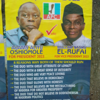 I saw this poster today along National Stadium Surulere. Adams Oshiomole for president alongside his running mate Nasir El Rufai. Courtesy: Miyetti Allah Cattle Breeders Association. There are a lot of problems facing this country both within and beyond, stuffs like this should be the least of our worries for now. I don't know if this is authentic or work of mischief makers.