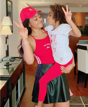 Actress Regina Daniels Nwoko who is married to the billionaire politician, Ned Nwoko poses with her stepdaughter in new adorable photos,… captioning: 'My mini luv❤'