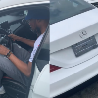 Nigerian singer, Victor AD has just shown off his latest acquisition, a Mercedes Benz. He posted an Instagram video of himself picking up the new car and wrote: 'Another one to say thanks to God and my fans for believing in me.'