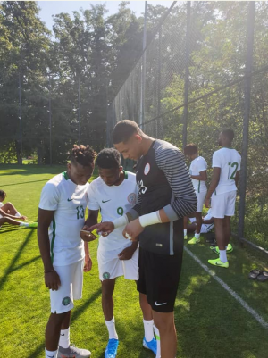 Super Eagles of Nigeria are currently holding their first training session ahead of their next friendly match, Igbere TV reports.  Igbere TV gathered that the training session is currently taking place in Dnipro, Ukraine.  Recall that the Super Eagles team are having a friendly tie against Ukraine national team.  Here are photos obtained by Igbere TV below…