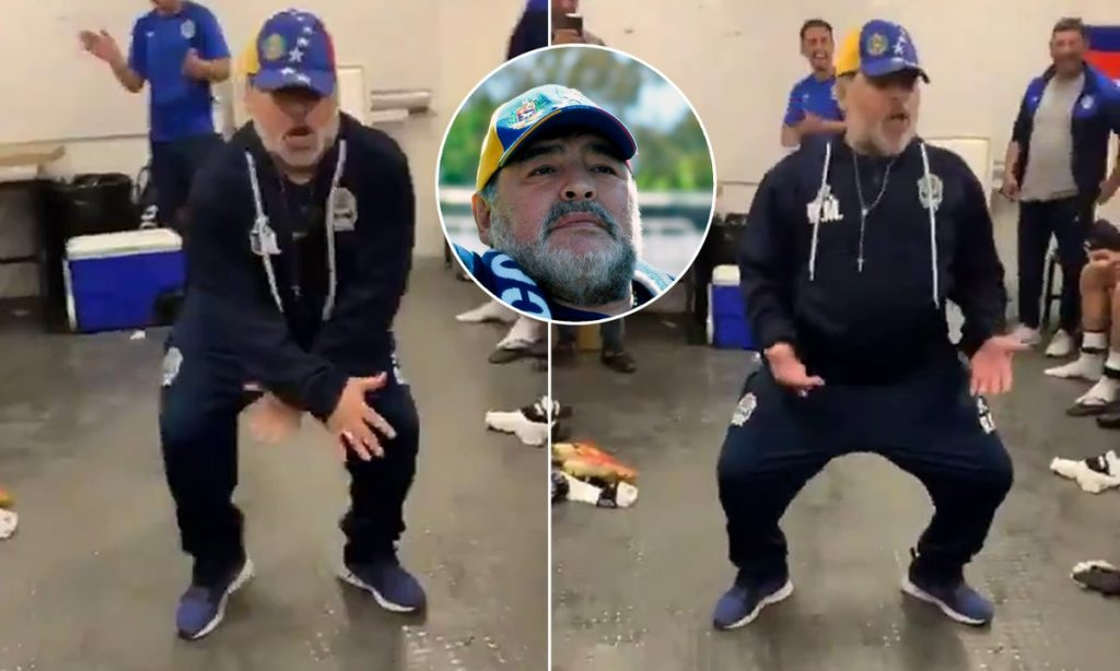 Diego Maradona showed off his dance moves after winning his first match as manager of Argentinian Primera Division side Gimnasia on Sunday  The 58-year-old, who had surgery on his knees in the summer, wiggled his hips in the changing roomsas he celebrated the victory.  Gimnasia, who were lifted off the bottom of the table with a 4-2 win over Godoy Cruz, face another must-win match on Saturday when they face 21st Union at home.