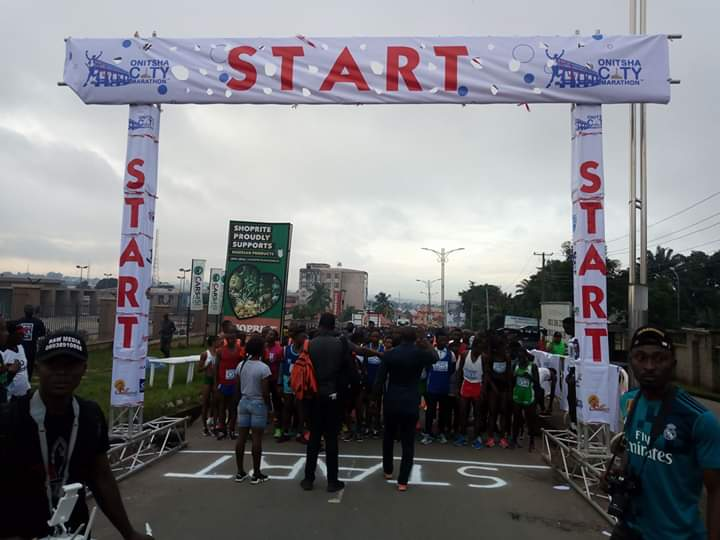 Kenya's Bernard Sang, 39, and Esther Chesand, 25, have won the male and female categories of maiden Onitsha City Marathon held in Onitsha, Anambra on Saturday. Sand won with 1.4:44 seconds.  Emmanuel Pam and Fadekemi Olude from Plateau came top as male and female champions of Nigerian nationality category in the 21 kilometer marathon race which started at about 6:30 a.m.   Pam was the overall 10th winner. William Amposah from Ghana finished overall fifth but was first west African to chest the rope. Augustine Nwafor was the first Onitsha man to finish. There was no presence of official of Anambra Government, especially from the State Sports Development Commission at the start point of the event and at the finishing line to receive and cheer the athletes. The News Agency of Nigeria (NAN) reports that while the international marathon was going on in Onitsha, the Anambra Sports Commission officials were holding its monthly Walk for Life from Nteje Oyi council area to Aguleri in Anambra East Council. (NAN)
