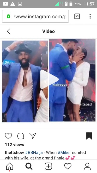 """It is no longer news that the 2019 Big Brother Naija """"Pepper Dem"""" season 4 has come to an end, but not without those sweet moments when Mike finally saw his wife after spending 99 days in the big brother house. It was a happy moment for the newly wedded couple.  Mike came second behind Mercy who was crowned the first female Big Brother Naija winner."""