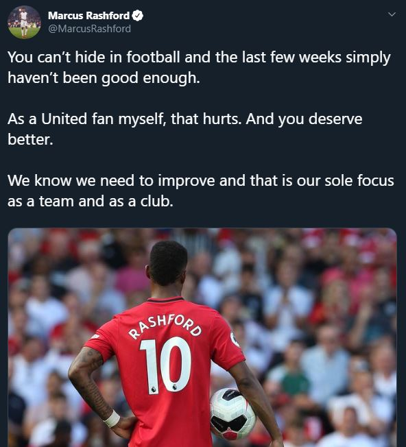 """Marcus Rashford has broken silence over the recent form of Manchester United.  This was after the Red Devils lost 1-0 to Newcastle in the English Premier League on Sunday, October 7.  United went into the game following a goalless draw against AZ Alkmaar in the Europa League.  Reacting to the recent form, Rashford tweeted that it hasn't been good enough and it hurts.  """"You can't hide in football and the last few weeks simply haven't been good enough. As a United fan myself, that hurts. And you deserve better. We know we need to improve and that is our sole focus as a team and as a club"""".  Manchester United are currently 12th on the EPL table with just 9 points."""