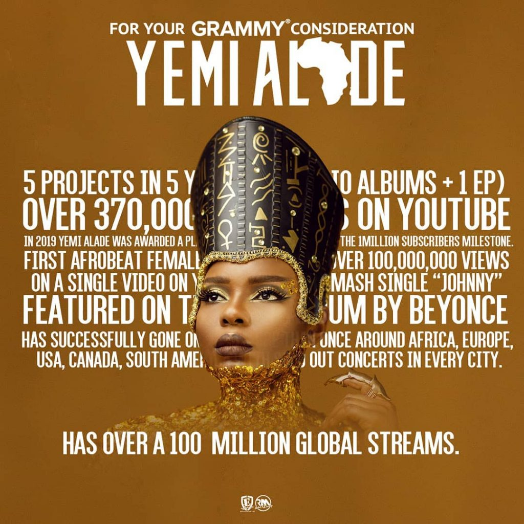 Things seems to be going in the right direction for Nigeria female singer Yemi Alade as she's been considered for Grammy Award.  Yemi Alade who recently dropped her anticipated album 'Woman of Steel' took to her Instagram Account to celebrate the great news as she aims to move her musical career to the global stage.   The singer and songwriter was considered for a Grammy having acquired over a million global streams and being the first afro beat female to have over 100 million views on a single video which is her hit single 'Johnny'