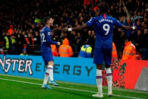 Tammy Abraham and Christian Pulisic score again as Chelsea hold out to a 2-1 victory over Watford at Vicarage Road in the Premier League encounter on Saturday night. The England striker opened the scoring after five minutes and this was doubled ten minutes after the interval when Pulisic found the net. The Blues were made to sweat in the closing stages after Gerard Deulofeu won a penalty, after a VAR overrule, and then converted from 12 yards.With the last touch of the game Kepa Arrizabalaga tipped wide a diving header from opposite number Ben Foster.Frank Lampard's side now third in the Premier League table but will slip below Leicester if they win at Crystal Palace on Sunday.
