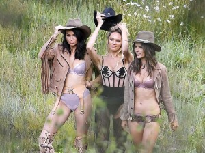 It's not often that you can see Alessandra Ambrosio, Adriana Lima & Candice Swanepoel all in the same place and dressed in some very sexy lingerie. Even better, it's all a part of a western style photo shoot.