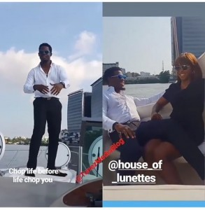 Nigerian reality star, Seyi Awolowo who made a name for himself at the recent edition of the Big Brother Naija has bagged a new endorsement deal with famous Shades coy, House of Lunettes joining his fellow housemate, Tacha as their brand ambassador.  Seyi penned the deal on a boat cruise at the Lagos coastline accompanied by his girlfriend, Desola who was on hand to calm his nerves in the cold weather.