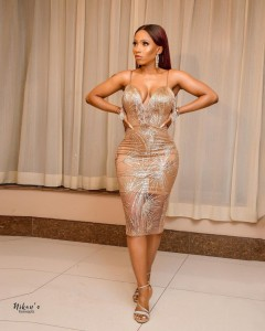 Bbnaija star Mercy Eke steps out in cleavage Barring off shoulder outfit, looks radiant…