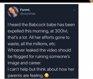 The Babcock female student in the viral leaked sex video nicknamed 'Mia Khalifa' has allegedly been expelled for having sex.  The guy was reportedly already expelled before the video leaked.