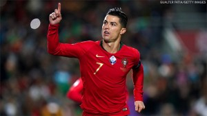 Cristiano Ronaldo has now scored his 9th International Hat-trick for Portugal in the 6-0 thrashing of Lithuania today.  The goals take Ronaldo up to 98 on the all-time international scoring charts, while Lionel Messi is still on 68 with Argentina.