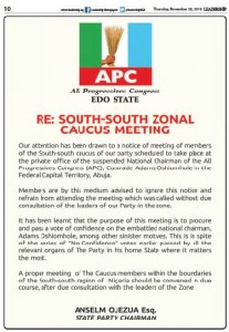 The All Progressives Congress (APC) in Edo State has rejected an emergency caucus meeting called by the South-South region of the party.  The meeting, scheduled to take pla