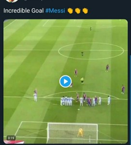 Barcelona Star Lionel Messi showed his quality yet again with two stunning free kick goals to complete his Hat-trick, MySportDab reports.  The Argentine magician curled home in superb style from 25 yards out against Celta Vigo in first-half injury time.