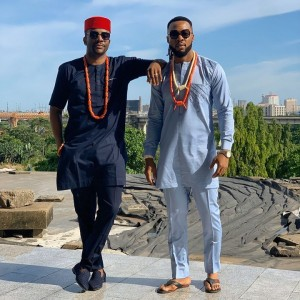 """Looks like something big is really coming up as the BBNaija presenter Obi- Uchendu Ebuka, Nigerian singer, Flavour, Nollywood actor, Eyinna Igwe, and two other actors took some shots together on their exquisite native attire. Ebuka took to his Instagram page to share the beautiful pictures with a caption; """"Umu afo Igbo Something's coming…"""""""