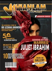 "JULIET IBRAHIM ADORNS AMAZON ISSUE OF VIVIAN LAM GLAMOUR MAGAZINE Nigeria-Ghana Prolific Actress, Singer and Celebrity Screen Diva, Actress Juliet Ibrahim has adorned the recently released ""Amazon Issue"" of Vivian Lam Magazine."