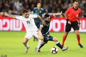 Lionel Messi still dribbled past five players whilst he was almost on the floor against Uruguay on Monday night.  The Argentina super