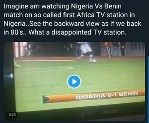Super Eagles fans on social media have criticised NTA over its poor video broadcast of Nigeria's AFCON 2021 Qualifier against Benin, MySportDab reports.  A fan wrote: 'NTA is the worst ever'  Another stated: 'This is the worst broadcast ever'  During the match, a commentator even said Alex Iwobi is an Arsenal player which is false because he now plays for Everton.