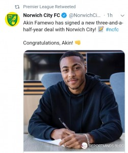 Norwich City are delighted to announce that centre-back Akin Famewo has signed a new three-and-a-half-year contract with the Club, extending his stay at Carrow Road until June 2023.