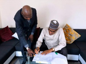 Abba Kyari takes bill to Buhari in London for signing The Chief of Staff to the President, Abba Kyari, on Monday took a bill to President Muhammadu Buhari, who is in London on a private visit, for signing.