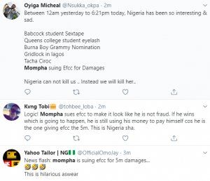 Nigerians have taken to Twitter to react to the news of Instagram bigboy, Ismaila Mustapha aka Mompha suing EFCC.  Mompha, who was arrested in October on allegations of Cybercrimes and Money laundering, today filed a lawsuit against the EFCC, challenging his continued detention. He has asked the court to mandate the EFCC to pay him N5 milion for unlawful detention.   Mompha is currently the number 1 trending topic as Nigerians are reacting to his lawsuit against the antigraft agency…