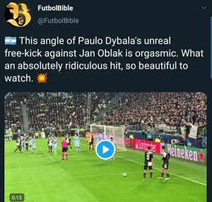 Paulo Dybala scored a stunning Free-Kick from an almost impossible angle to give Juventus victory over Atletico Madrid on Tuesday, MySportDab reports.  On the stroke of half-time, Dybala curled in a free kick from near the by-line.