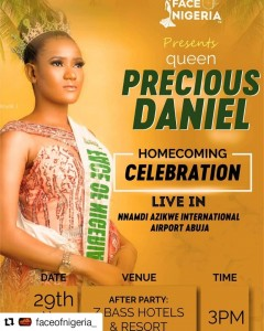 Not Every dream requires sleep. Hard work is one of the best ways to accomplish your dreams says the new FACE OF NIGERIA 2019/20 QUEEN PRECIOUS DANIEL, a 23 year old political science graduate of the institute of business technology