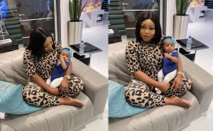 """Nollywod actress, Ruth Kadiri who welcomed her first child with her husband Ezerika in August has shared adorable photos with her daughter.   Ruth Kadiri shared the photos with the caption """"Ezerika"""" and also attached a love emoji to the post."""