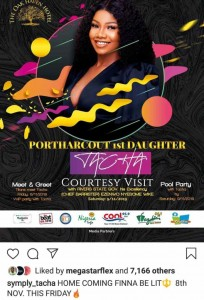 Controversial ex-BBNaija housemate, Tacha aka Port Harcourt's first daughter, has finally returned back to Instagram with good news for her Titans in Port Harcourt.  The controversial reality star announced that she's set to come back to her base (Port Harcourt) on the 8th of November, 2019. She will also be having a pool party on Saturday with her Titans.