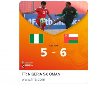 Oman held off Nigeria and won 6-5 in a closely-fought encounter in Group D. Oman jumped into a two-goal lead thanks to Eid Al Farsi's left-footed, curling rocket into the far corner from distance and Jalal Al Sinani's impressive scissor kick. Emeka Og