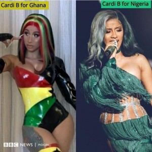 Check Out Cardi B's Outfit In Nigeria Vs In Ghana (Photos) What Cardi B wore to perform for Nigeria V what she wore to perform in Ghana.
