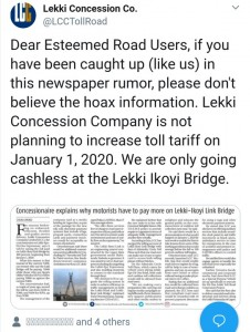 There has been a crazy rumour making the rounds that the Lekki Concession Company plans to increase the toll tariff on the Lekki-Ikoyi Link Bridge by 100%. This means that cars that pay ₦300 will now pay ₦600. This rumour was further fuelled by an article in a newspaper. However, the management of the Lekki Concession Company have now debunked the rumour. They say that there is no plan to increase the toll tariff on the bridge.