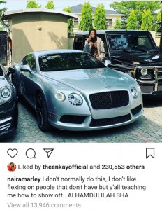 Naira Marley has decided to be flaunting his cars after he was accused of stealing a car.