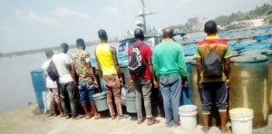 Seven suspects have been arrested by the Navy after they were caught smuggling petroleum products from Nigerian to Cameroon.
