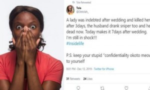 A Twitter user has shocked her followers after narrating how a couple's debt after marriage forced them to commit suicide. A Nigeria lady simply identified as Tola has taken to her Twitter account with the handle @detolah_to narrate how a newly wedded couple allegedly committed suicide in Nigeria.