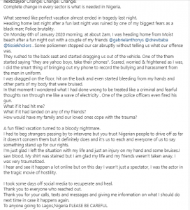 A US-based Nigerian man, who returned to Lagos for the Christmas holiday, shared a traumatising video purportedly showing police officers brutalizing him and his friends.