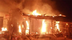 At least one person has been confirmed dead, following Saturday ' s fire that gutted the Mgbuka Obosi Spare Parts Market in Idemili North Local Government Area of Anambra .