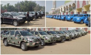Borno State governor , Prof . Babagana Umara , on Friday released 70 patrol vehicles to support the fight against insurgency in the State.  The vehicles were released to