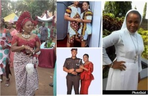Photos from the wedding ceremony of a Catholic Reverend Sister who quit her religious devotion to get married to a police officer has surfaced, days after her pre-wedding photos went viral on social media.   The former Catholic Reverend Sister who posed in different traditional attires in her traditional wedding photos, was spotted carrying a cup of wine to serve her husband, which is one of the marriage rites performed during Igbo traditional weddings.
