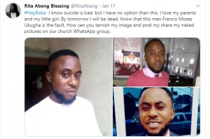 A Nigerian lady, Rita Abang was allegedly stopped from committing suicide after her pastor allegedly shared her n*de photos in their church's Whatsapp group.