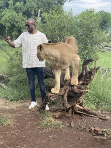 Reality star, Omashola Kola Oburoh has shown his brave side after he was spotted posing with lions.