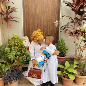 Nigerian actress, Tonto Dikeh is a happy woman after taking to her social media page to reveal her 2020 resolutions. Controversial Actress, Tonto Dikeh has shared with her fans beautiful photos as she stepped out to church together with her son yesterday!
