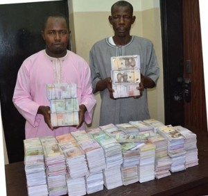 Men of the Economic and Financial Crimes Commission in Abuja have arrested Badamasi Sule and Muhammad Muhammad, suspected money-doublers, for being in possession of counterfeit Naira notes totaling about N45 million.